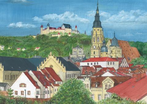 Kunstpostkarte - Stadtansicht Coburg