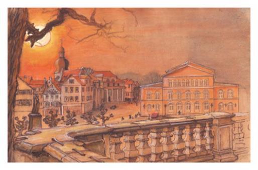 Kunstkarte Coburg - Blick von den Arkaden auf das Landestheater