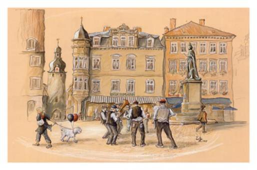 Kunstkarte Coburg - Musikanten auf dem Coburger Marktplatz