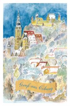 Kunstkarte Coburg - Blick auf St. Moriz und Veste