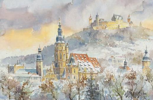 Magnet St. Moriz mit Veste Coburg im Winter