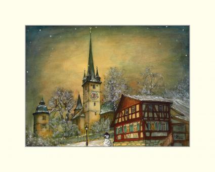 Schlosskirche Ahorn mit Schneemann